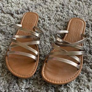 Bronze Metallic Strappy Sandals